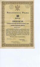 POLAND WARSZAWA  OBLIGACJA PANSTWOWA  1924