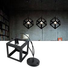 Black Cube Frame Ceiling Lamp Retro Edison Light Chandelier Loft Style Pendant D