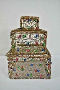 Stacking Wire Boxes with Colorful Stones