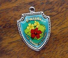 Garden Island Travel Shield charm #E8 Vintage silver Hawaii State Kauai The