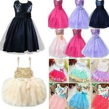 Kids Baby Flower Girls Party Sequins Dress Wedding Bridesmaid Princess Age 1-8Y