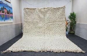 "Moroccan Handmade Beni Ourain Rug 8'3""x11'5'' Berber Dotted White Black Wool Rug"