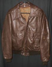 Vtg. Bomber Leather Jacket Military Flight Style Distressed Heavy 44 Reg