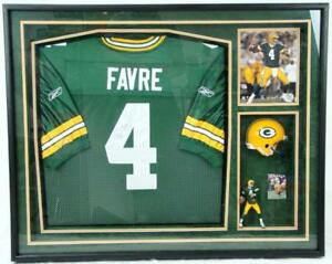 Bret Favre Signed Shadowbox Framed Jersey Mini Helmet Photo Green Bay Packers