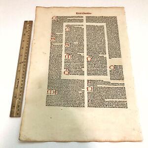 RARE 1486 Incunable Medieval Leaf Decretales By Pope Gregory IX - Manuscript A