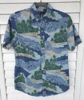 Reyn Spooner Tailored Fit Blue Palm Trees Ocean Wave Print Hawaiian Shirt~XS EUC