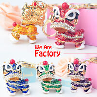 1Pc Rotatable Lion Dance Keychain Crystal Lucky Mascot Key Chain Ring Bag Hol_ZT