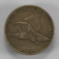 1857 1c FLYING EAGLE SMALL CENT, DIE BREAK S-16 *VF/XF* LOT#V696