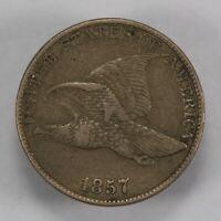 1857 1c FLYING EAGLE SMALL CENT, DIE BREAK S-16 *VF/XF* LOT#V696