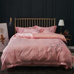 Pink Peony Flowers European Embroidery Bedding Set Jacquard Silk Cotton Bedlinen