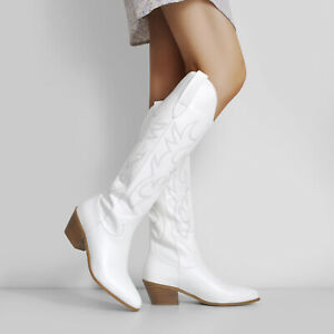 Women Ladies Combat Casual Block Heel Pull On Knee High Riding Boots Shoes US14