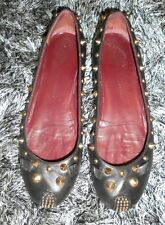 Marc By Marc Jacobs Punk Mouse Studded Black Leather Ballet Flats 36.5 US 6.5