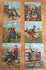6 Vintage (Victorian?) Jigsaw Puzzles - Original Box & Picture Templates Antique