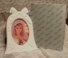 Princess House Wedding Bell Picture Frame White Bisque 6061 NIB  (#083)