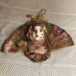 Ceramic Clown Jester Fan Style Ruff Venetian Style Decor Mask 12in