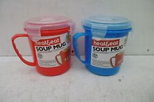 PAIR OF 0.7LTR HEAT & EAT MICROWAVABLE SOUP MUGS RED & BLUE