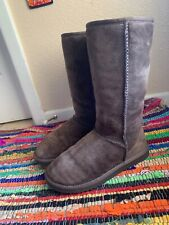 6 Ugg Australia Classic Tall Chocolate Brown Shearling Boots Sherpa Fur $220