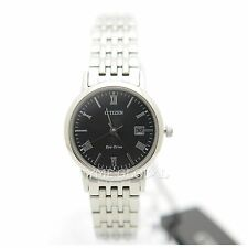 Citizen EW1580-50E Eco-Drive Black Dial Date Stainless Steel Solar Ladies Watch