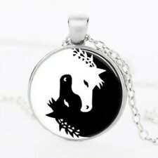 Horse Necklace Jewelry Yin Yang Black and White Animals Art Pendan Silver
