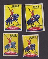 Ancienne   étiquette  Allumette Inde  BN12526 Cheval Rider