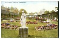 Antique printed postcard Royal Hall Gardens Harrogate statue marble
