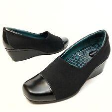 Aetrex Black Wedge Women's Shoes Sz 8 Eu39.5 Comfort Leather-Fabric Stretch (11