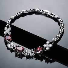 Red & Clear Crystal Rhinestone Butterfly White Gold Filled Women Bracelet Bangle