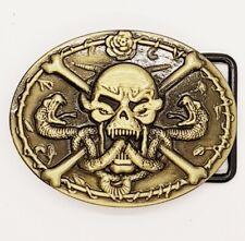 Skull Head Skeleton Snake Belt Buckle Punk Rock Gothic feeanddave