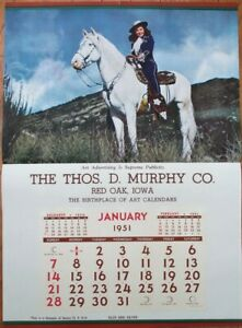 Pinup Cowgirl 1951 20x27 Poster/Advertising Calendar-Woman & Horse-Blue & Silver