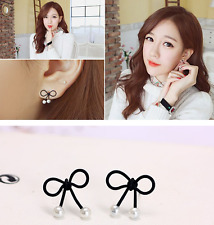 1Pair Fashhion Lovely Bow Knot Pearls Ear Studs Wedding Fashion Earrings Jewelry