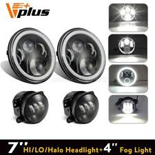 "For Jeep Wrangler JK 7"" Halo LED Headlight Angel Eye + LED Fog Light Combo Kit"