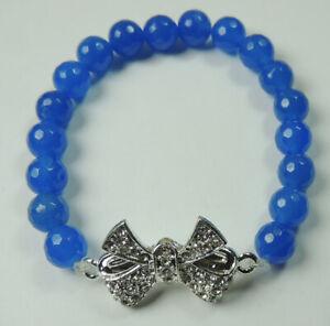 Blue Jade Stretch Bracelet with Rhinestone Bow Handcrafted