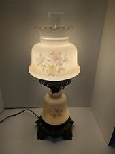 Vintage Gone With The Wind 3 Way Parlor Lamp Hurricane  Painted Flowers LOT B