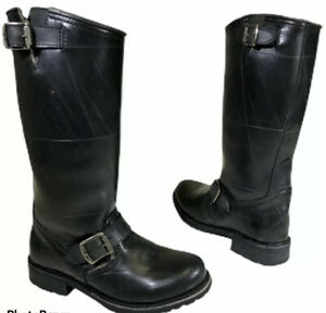 Frye ENGINEERING Black Waterproof SHEARLING Harness Riding Biker Rain Boots 6 M