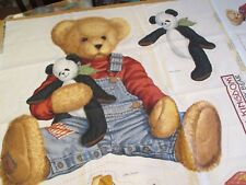 "Vintage Daisy Kingdom Blue Jean Teddy Bear Huge Wall Hanging Craft 23"" x 27"""