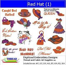Embroidery Design Cd - Red Hat(1) - 17 Designs - 9 Formats - Threadart