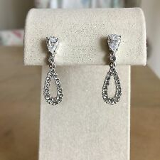 Nadri Pave Open Teardrop Pave Cubic Zirconia Drop Earrings, Silver tone, NWT