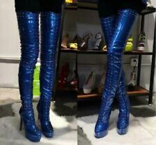 Over-the-Knee Thigh/Crotch High Boots Rock Rivet Sexy High Heel Platform EU35-47