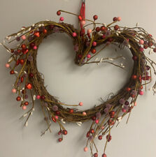 """Heart Shaped VALENTINE WREATH 10"""" Berries Pink Red  Roses Ribbon Red"""