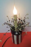 """Electric Patriotic Electric Candle In Ceramic Pot 12.5"""" Tall 4th Of July"""