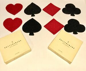 Pottery Barn Beaded Playing Card Suit Coasters Set Of 8