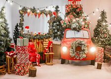 10x8ft New Year Christmas Retro Red Car Wreath Photo Background Vinyl Backdrop
