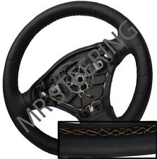 FOR TOYOTA VERSO 2009+ BLACK ITALIAN LEATHER STEERING WHEEL COVER BEIGE STITCH