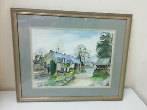 M. Tomkins - 20th Century Watercolour, Outside Llanrhaeadr Church, Wales - Art