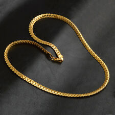 Hot Fashion 18K Gold Plated 5MM Flat Chain Necklace Women Men Jewelry