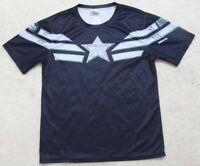 Rogers Tee Shirt Large Polyester Crewneck Graphic T-Shirt Short Sleeve Blue Gray