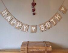 80th Birthday Bunting Banner Vintage Hessian Burlap Rustic