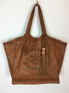 M&S Collection Large Tan Tote Bag Shoulder Vegan Faux Leather Studs Hobo Beads