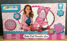 New, Baby Doll Stroller Pink Flowers Hood Preschool Girls Pretend Play Ages 3±