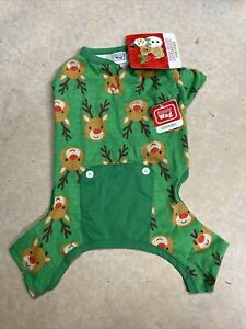 "SIMPLY WAG Green Christmas PAJAMAS  ""REINDEERS"" Puppy/Dog MEDIUM"